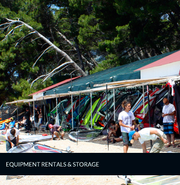 storage and rentals for windsurfing equipment in bol
